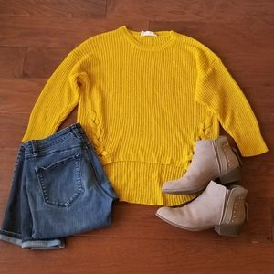 Sweet Wanderer Yellow Braided High-low Top